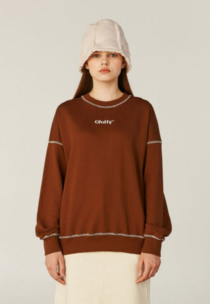 韓国ブランド「CLOTTY」のZIGZAG LOGO STITCH SWEAT-SHIRT[BROWN]