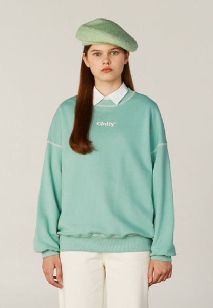 韓国ブランド「CLOTTY」のZIGZAG LOGO STITCH SWEAT-SHIRT[MINT]