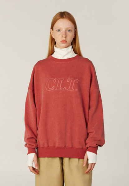 韓国ブランド「CLOTTY」のCLT OUTLINE SWEAT-SHIRT[RED]