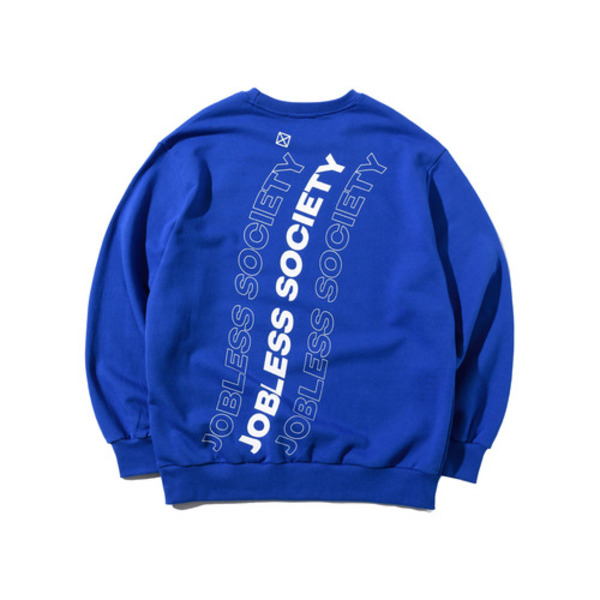 韓国ブランド「JOBLESS SOCIETY」のSOCIETY REAR FILL SWEATSHIRTS (Blue)