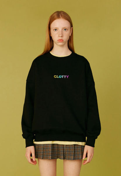 韓国ブランド「CLOTTY」のGRADATION LOGO SWEAT-SHIRT[BLACK]