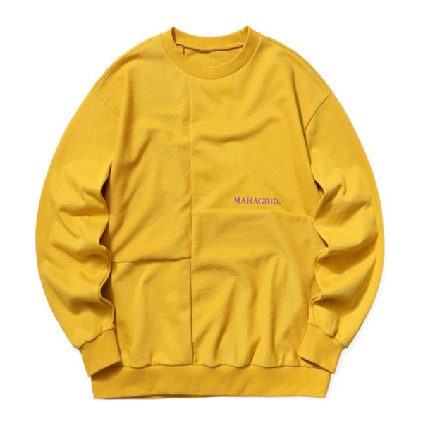 韓国ブランド「mahagrid」のBLOCK REVERSIBLE SWEATSHIRT[MUSTARD]
