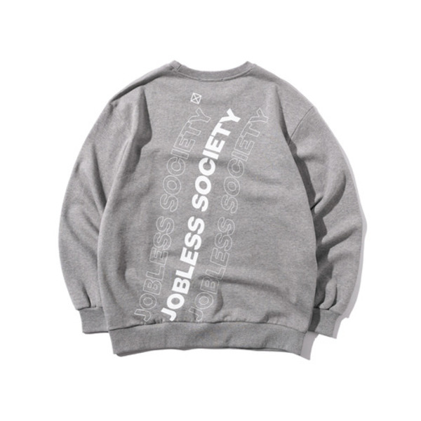 韓国ブランド「JOBLESS SOCIETY」のSOCIETY REAR FILL SWEATSHIRTS (Gray)