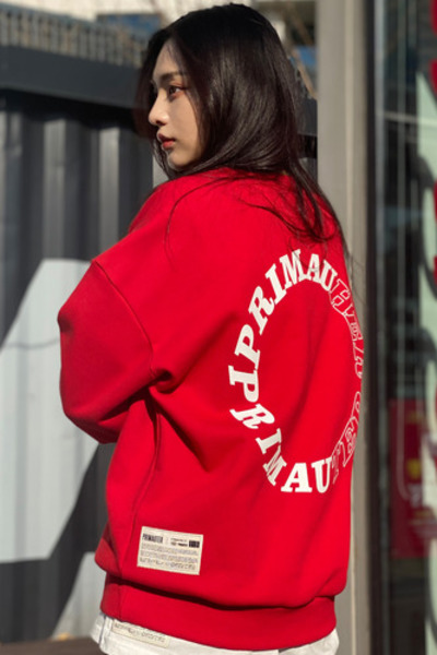 韓国ブランド「PRIMAUTER」のROUND HERTER SWEATSHIRTS (Red)