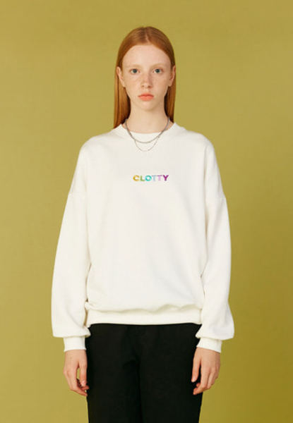 韓国ブランド「CLOTTY」のGRADATION LOGO SWEAT-SHIRT[WHITE]