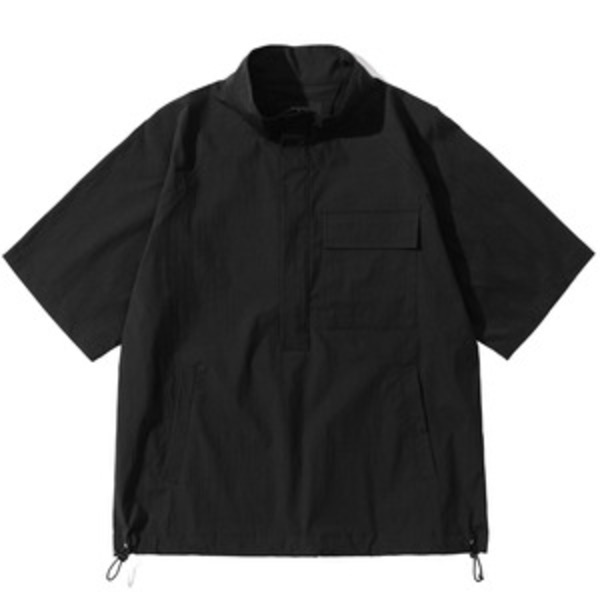 韓国ブランド「PRIMAUTER」のPM READY TO SUMMER ½ HALF ZIP (Black)