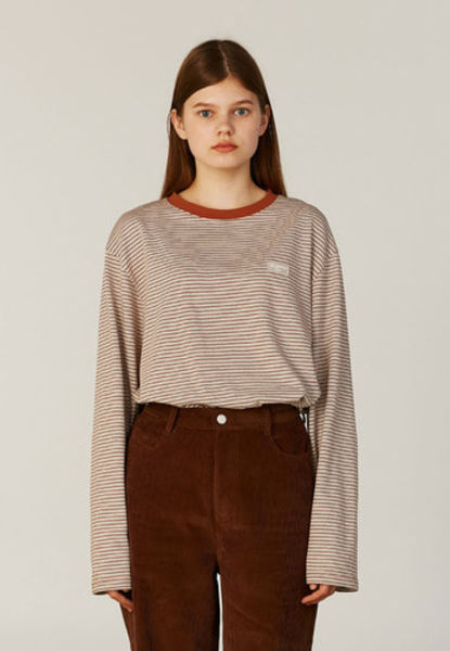 韓国ブランド「CLOTTY」のSTRIPE JELLY PATCH LONG SLEEVE[BROWN]