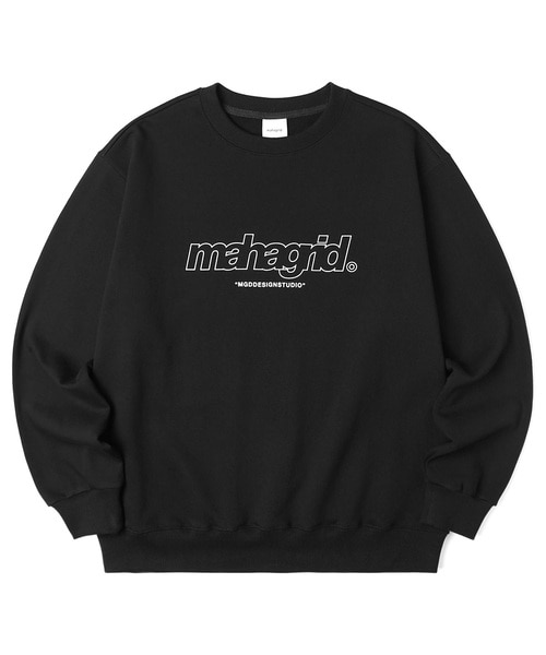 韓国ブランド「mahagrid」のTHIRD LOGO CREWNECK[BLACK]