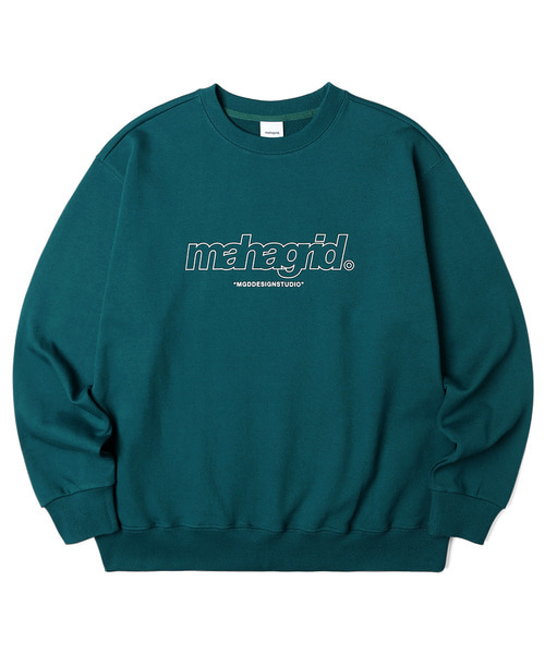 韓国ブランド「mahagrid」のTHIRD LOGO CREWNECK[GREEN]