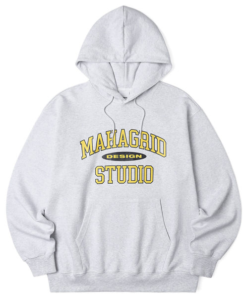 韓国ブランド「mahagrid」のCOLLEGE LOGO HOODIE[LIGHT GREY]