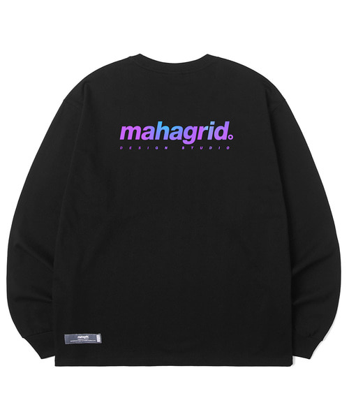 韓国ブランド「mahagrid」のRAINBOW REFLECTIVE LS TEE[BLACK]