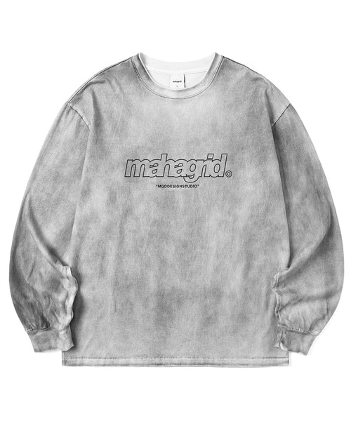 韓国ブランド「mahagrid」のTHIRD LOGO SPRAYED LS TEE[CHARCOAL]