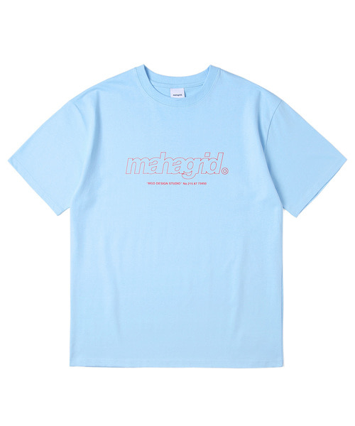 韓国ブランド「mahagrid」のTHIRD LOGO TEE[LIGHT BLUE]