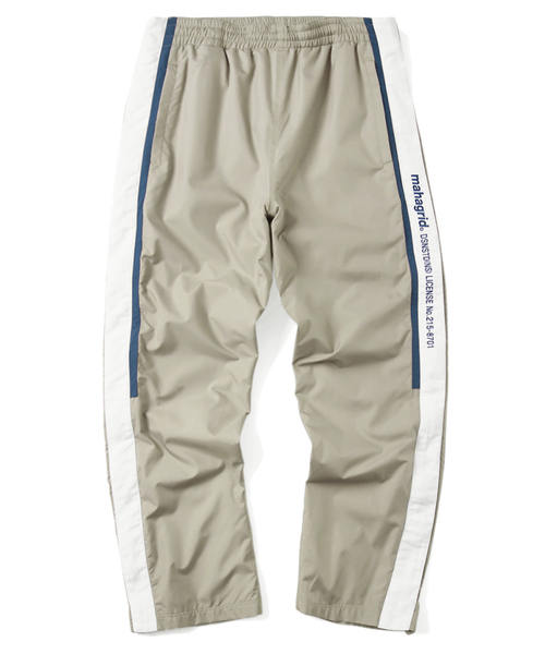 韓国ブランド「mahagrid」のSIDELINE FULL ZIP WARM UP PANT[KHAKI]
