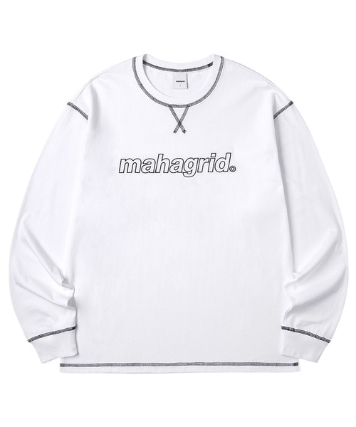 韓国ブランド「mahagrid」のBIG STITCH LS TEE[WHITE]