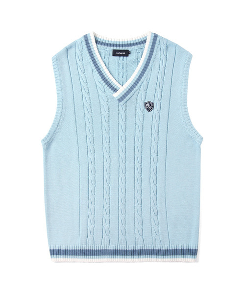 韓国ブランド「mahagrid」のCABLE KNIT VEST[SKY BLUE]