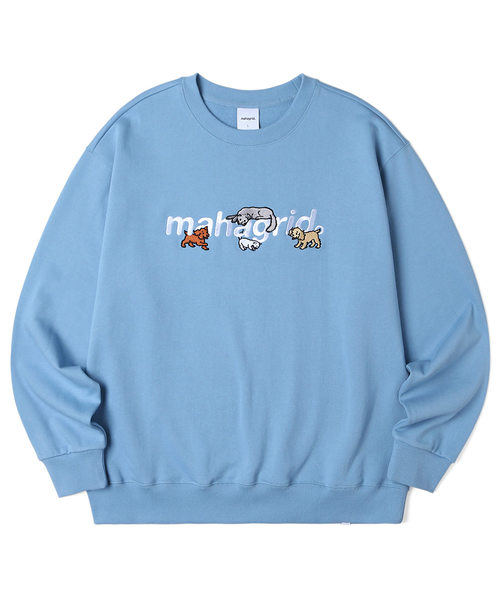 韓国ブランド「mahagrid」のCATS AND DOGS SWEATSHIRT[BLUE]