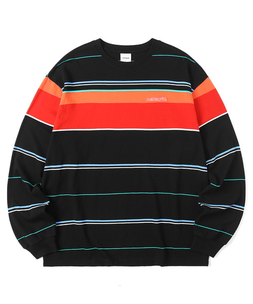 韓国ブランド「mahagrid」のOL LOGO STRIPED LS TEE[BLACK]