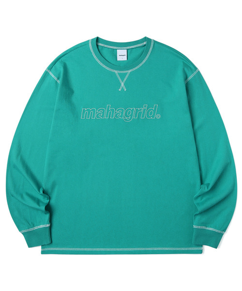 韓国ブランド「mahagrid」のBIG STITCH LS TEE[GREEN]