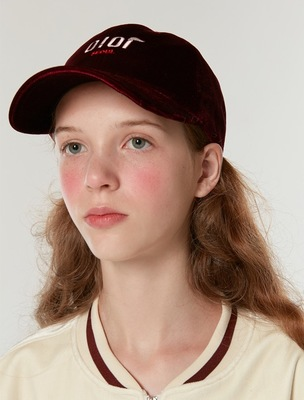 韓国ブランド「5252 by oioi 」のVELVET BALL CAP_burgundy