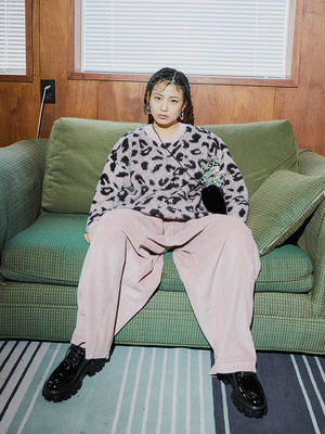 韓国ブランド「OPEN THE DOOR」のleopard over knit (3 color) - woman