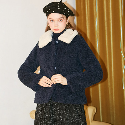 韓国ブランド「SALON DE YOHN」のTeddy Bear Short Coat_ Navy