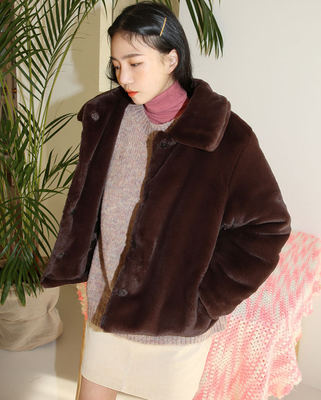 韓国ブランド「AIN」のmink fur like padding jacket