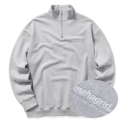 韓国ブランド「mahagrid」のHALF ZIP SWEAT SHIRTS[GREY]