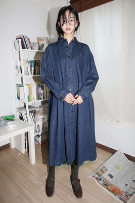 韓国ブランド「moaoL」のbasic denim dress (denim)