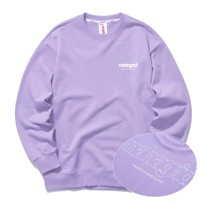 韓国ブランド「mahagrid」のBACK THIRD LOGO CREWNECK[PURPLE]