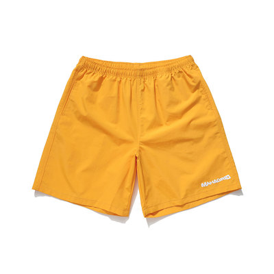 韓国ブランド「mahagrid」のWAVY LOGO SHORTS[YELLOW]