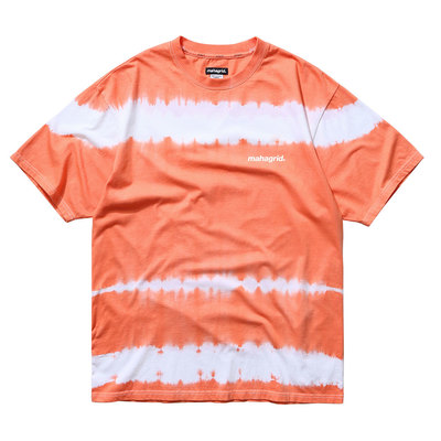 韓国ブランド「mahagrid」のTIEDYE STRIPED TEE[ORANGE]