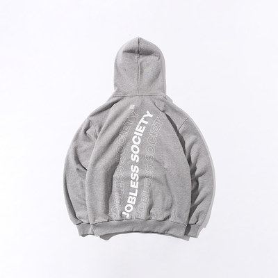 韓国ブランド「JOBLESS SOCIETY」のSOCIETY REAR FILL HOODIE (Gray)