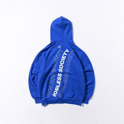 韓国ブランド「JOBLESS SOCIETY」のSOCIETY REAR FILL HOODIE (Blue)