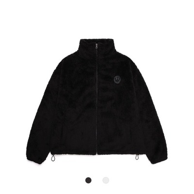 韓国ブランド「DXOH」の[DXOH] TONE ON TONE PATCH FUR ZIP UP 2COLOR