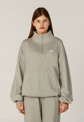 韓国ブランド「CLOTTY」のSET UP HALF-ZIPUP SWEAT-SHIRT[GREY]