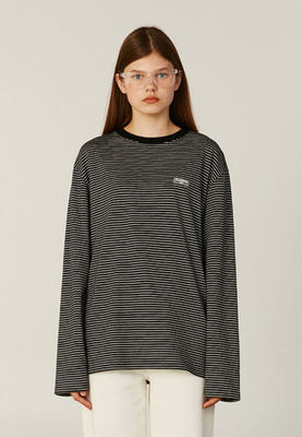 韓国ブランド「CLOTTY」のSTRIPE JELLY PATCH LONG SLEEVE[BLACK]