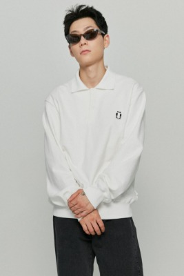 韓国ブランド「ISTKUNST」のPOLO SWEATSHIRTS[WHITE]
