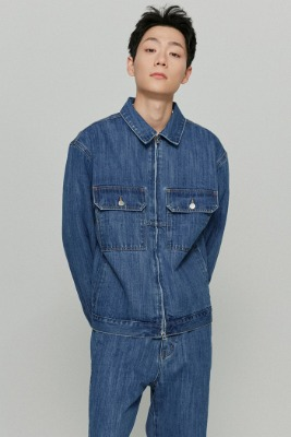 韓国ブランド「ISTKUNST」のUTILITY SLUB DENIM JACKET[BLUE]