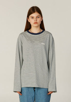 韓国ブランド「CLOTTY」のSTRIPE JELLY PATCH LONG SLEEVE[BLUE]