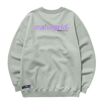 韓国ブランド「mahagrid」のBACK LOGO SWEATSHIRT[SAGE]