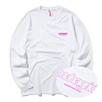 韓国ブランド「mahagrid」のBACK THIRD LOGO LS TEE[WHITE]
