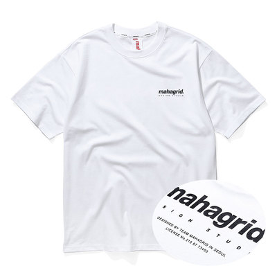 韓国ブランド「mahagrid」の8.12予約発送★MORUGI×YouTuber★ORIGIN LOGO TEE[WHITE]