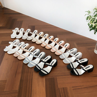 韓国ブランド「UNNISHU」のUNNI Square Mule Slipper (5cm)Summer Best♥